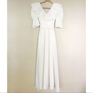 Vintage 70s 80s Prairie Pleated Wedding Dress