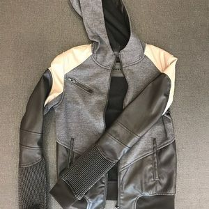 BLANKNYC Color Block Faux Leather Jacket