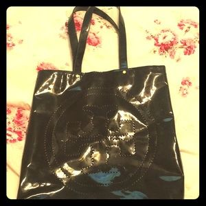 Large Tory Burch patent leather tote bag