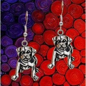 Jewelry - Dog Earrings in Silver Tone .