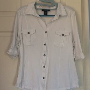 Style & co white 3/4 sleeves button down