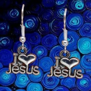 Jewelry - I Love Jesus Heart Simple Style Lady Earrings