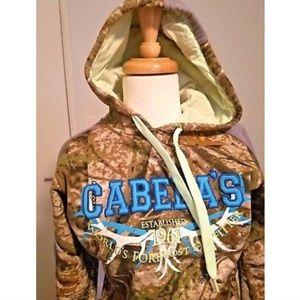 Cabela's women S pullover camo hoodie sweatshirt
