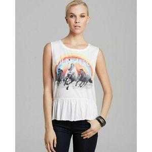 Chaser Wild and Free rainbow peplum tank t shirt