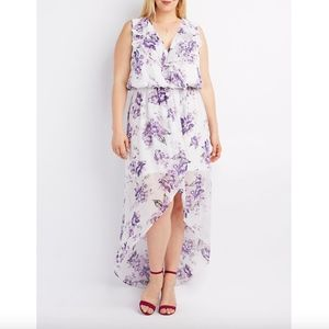 Dresses & Skirts - Plus Size Purple Floral High Low Maxi Dress 2X NWT