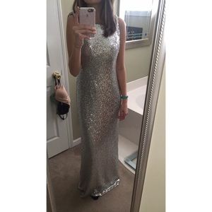 Silver sequin sleeveless gown