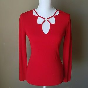 BCBG Maxazria Red Long Sleeve Shirt
