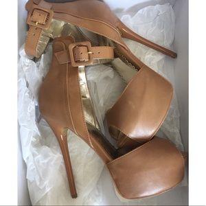 Bebe 'Lucie' Brown Cognac Heels