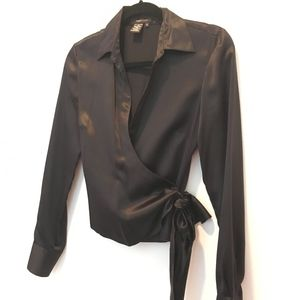 BCBG MaxAzara Black Silk Wrap Blouse
