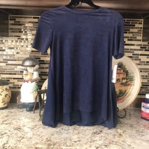 Bar III NAVY BLUE SUEDE BLOUSE