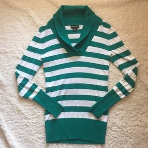 Kelly Green striped fold over neck sweater