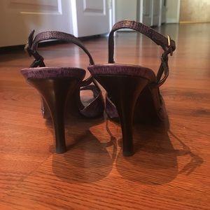 Stuart Weitzman purple peep toe sling back heals