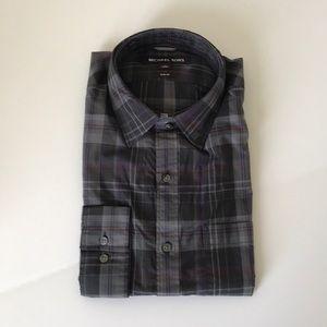 Michael Kors Slim-Fit Plaid Cotton Shirt - Size M
