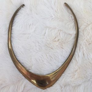 Vintage knife edge gold choker necklace