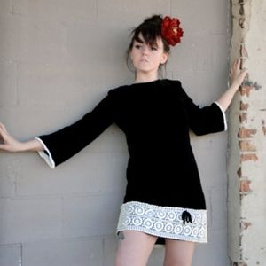 VTG Black Velvet Mini Dress with White Lace
