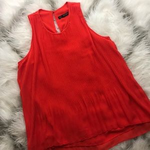 Zara orange pleated blouse