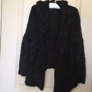 Sweaters - Ally Hooded Faux Fur Open Cardigan