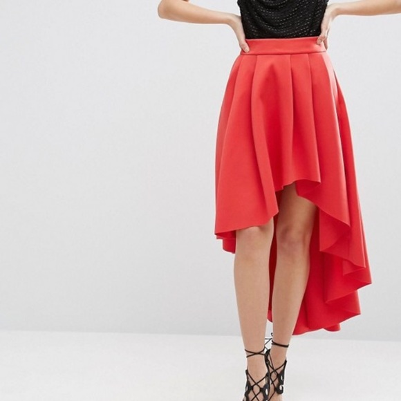 structural disablities crazy price hot sale ASOS Scuba Midi Prom Skirt High-Low NWT