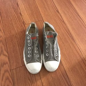 Gray Laceless Converse