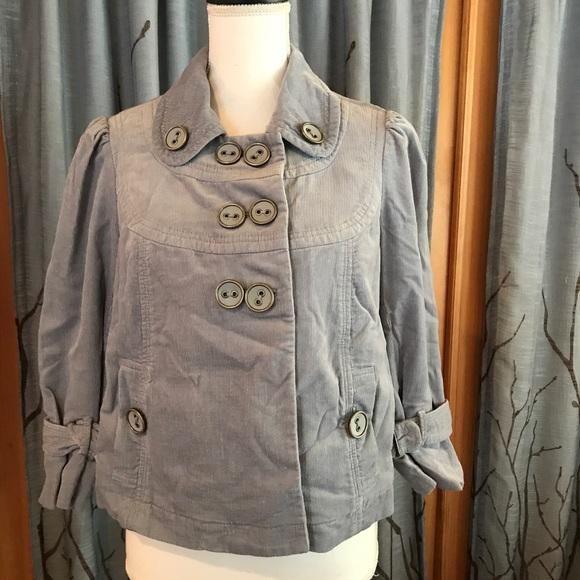 Anthropologie Jackets & Blazers - Anthro taikonhu 8 ice blue corduroy button jacket