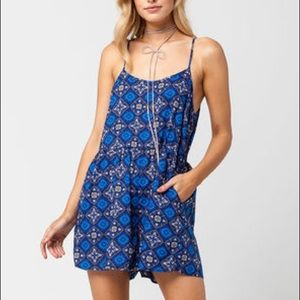 Roxy Blue and Brown Printed Romper