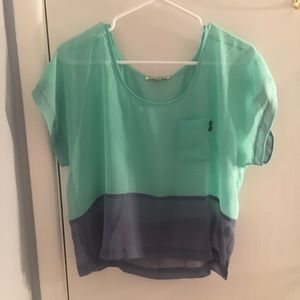 Urban Outfitters blue & green color block blouse!