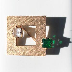 Vintage 80s Geometric Emerald Diamond Brooch