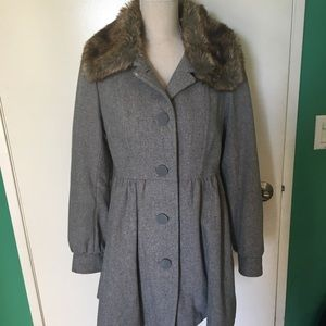 H&M grey peacoat with fur and pockets  size 10