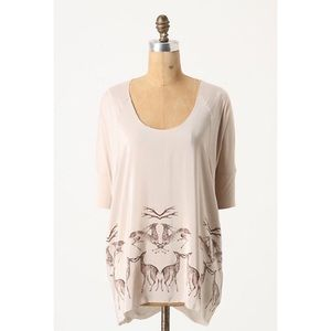 Anthropologie Mirrored Deer Top by One Sept Size S