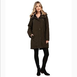 Vince Camuto Faux Fur Trim Parka-Olive Color