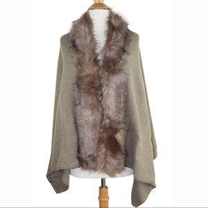 Beige Faux Fur Trim Cape Poncho Shawl