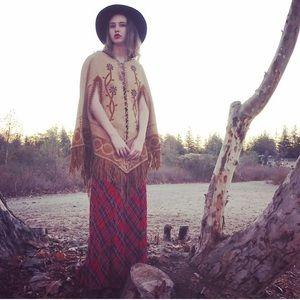 Vintage Western Suede Poncho, haute hippie FP boho