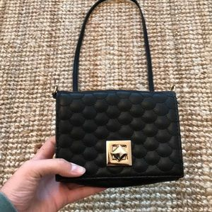 Deena and Ozzy Black Leather Satchel