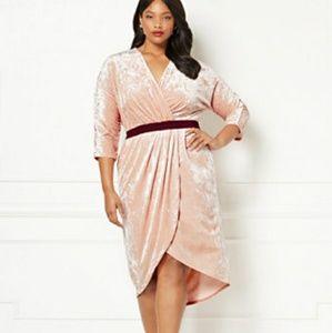 Eva Mendes Velvet Wrap Party Dress