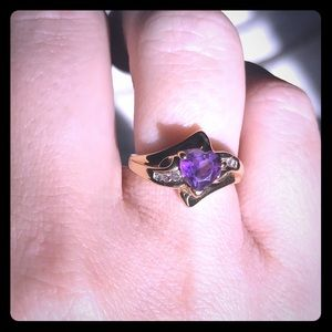Jewelry - 10K Gold Amethyst and Diamond Ring