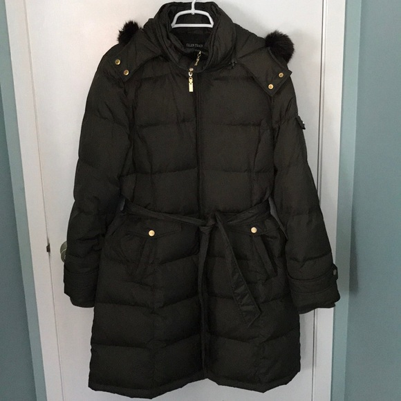 6387f4208bc Ellen Tracy Belted Puffer Coat with Fur Hood