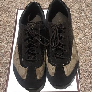 Brown authentic coach sneakers