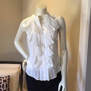 NWOT! Zara Basic White Ruffled Sleeveless Top