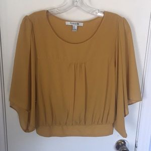 Forever 21 cropped mustard blouse