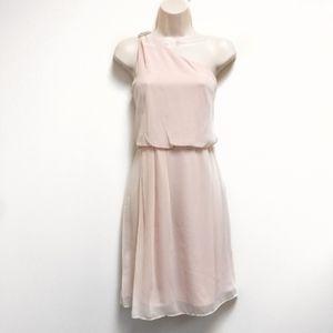 ADRIANNA PAPELL NWT Pink OneShoulder Chiffon Dress