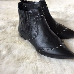 SCHUTZ black leather studded booties