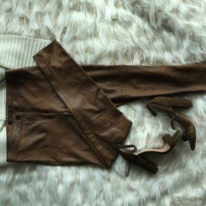 Zara brown small skinny leather pants