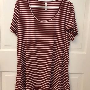 LuLaRoe LLR Classic T XL Ribbed White Red Striped
