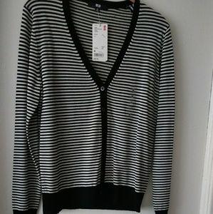 UNIQLO striped 💯% wool cardigan NWT