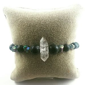 Peacock Ore, Lava Rock Bracelet with Herkimer