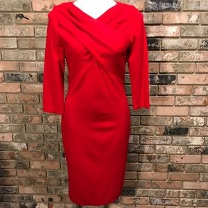 Calvin Klein Red Crossed Front Dress size 10