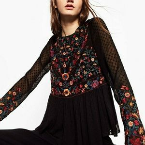 Zara Black Embroidered Peplum Top