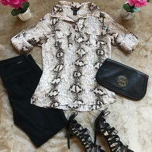 White House/Black Market Silk Snakeskin Blouse