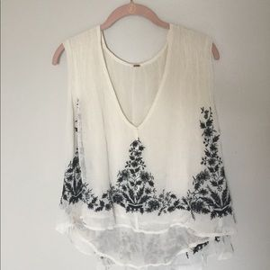 White with black embroidery