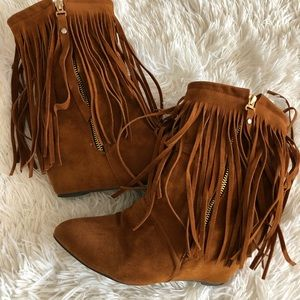 Shoes - Fringe wedge booties